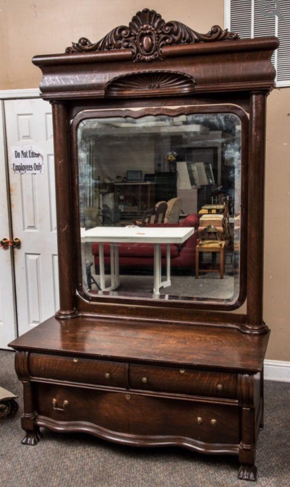 Details about Karges Tiger Oak Princess Dresser - Original