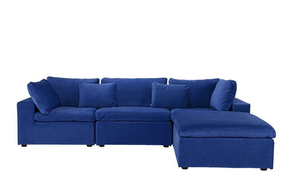 Fitz contemporary low profile velvet lounge sofa with