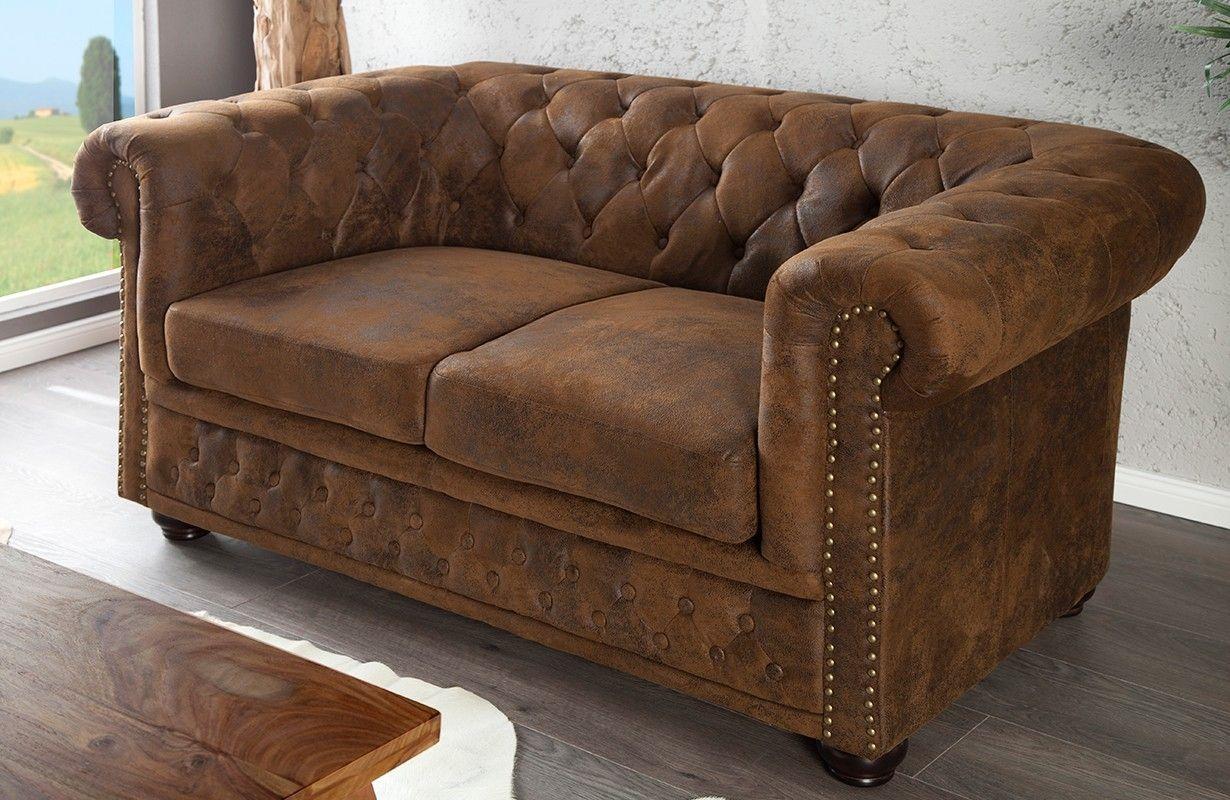 Sofa CHESTERFIELD 2er ANTIK BROWN von NATIVO Designer ...