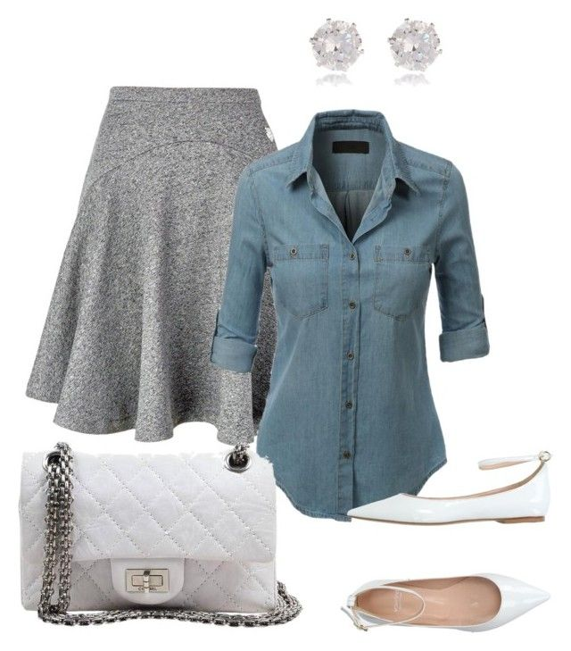 """""""GreyDenim"""" by shopper-girl91 on Polyvore featuring River Island, Kenzo, LE3NO, Valentina and Chanel"""