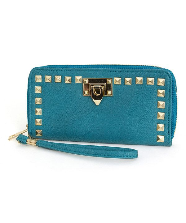 Look at this Rebecca & Rifka Teal & Gold Stud Wristlet on #zulily today!