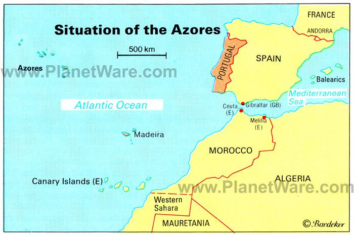 Map Of Spain Oceans.Azores Islands Map Portugal Spain Morocco Western Sahara Madeira