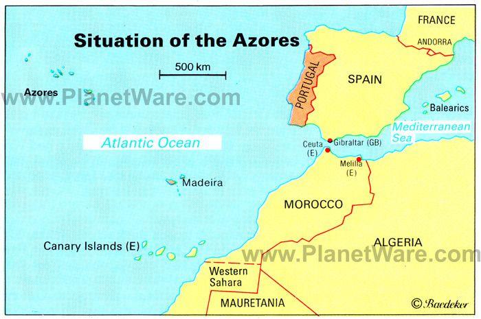 Azores Islandsmap Portugal Spain Morocco Western Sahara Madeira - Portugal map islands