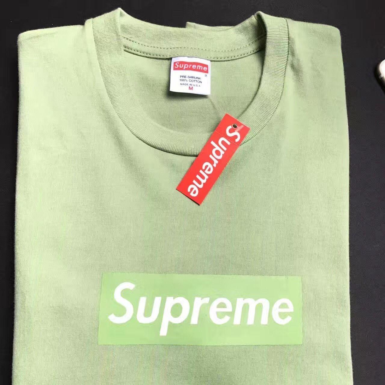 Supreme Box Logo Tshirt Pink Matcha Green Orange Color