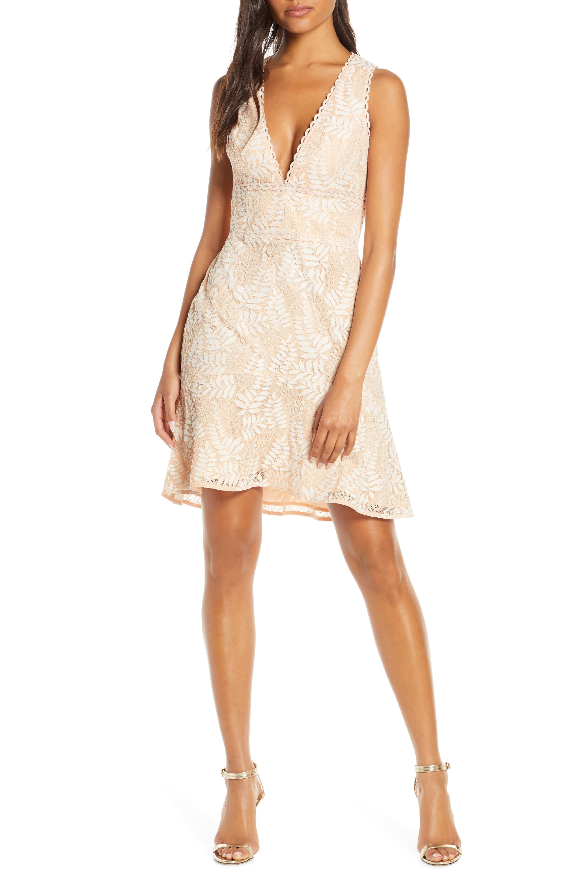 Adelyn Rae Hazel Plunging V Neck Lace Cocktail Dress Nordstrom Cocktail Dress Lace Cocktail Dress Fashion Clothes Women [ 3588 x 2340 Pixel ]