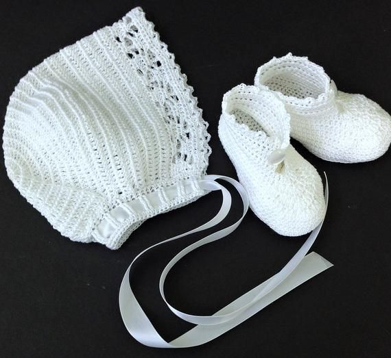 Photo of Baby Boy Christening Outfit Crochet Pattern with Lace Jacket, Rompers, Bonnet, and Booties