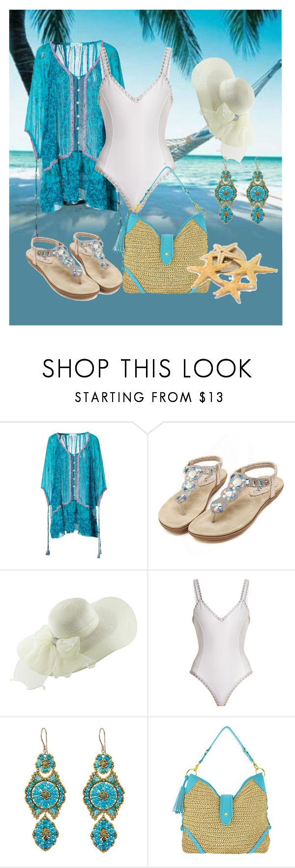 """""""Beach"""" by mozzy18 ❤ liked on Polyvore featuring Poupette St Barth, kiini, Miguel Ases and C.R.A.F.T."""