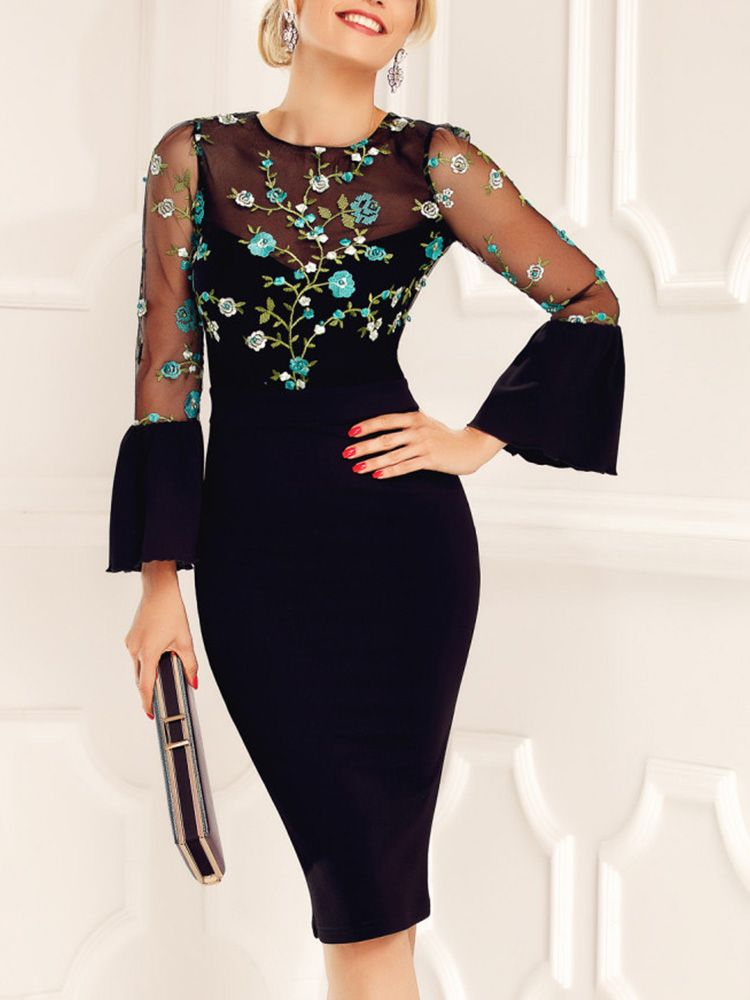 Floral Embroidery Mesh Bell Sleeve Bodycon Dress #floralembroidery