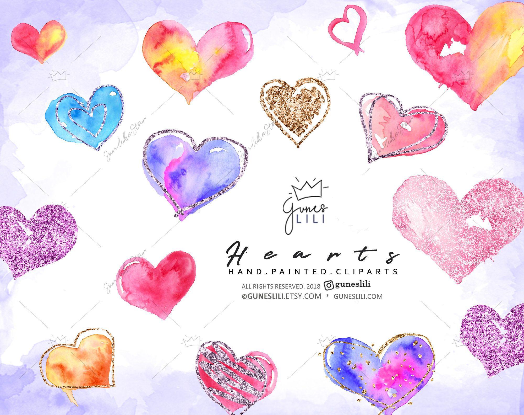 Watercolor Hearts Clipart Glitter Graphics Digital Download Love