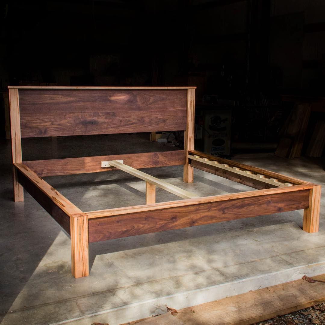 Our Ambrosia Maple And Walnut Chunky Leg Ledge Bed With Headboard