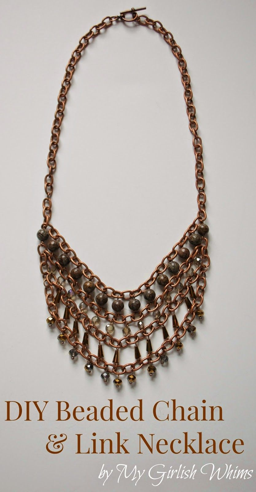 DIY Copper Beaded Chain Necklace & Blog Hop   My Girlish Whims ...