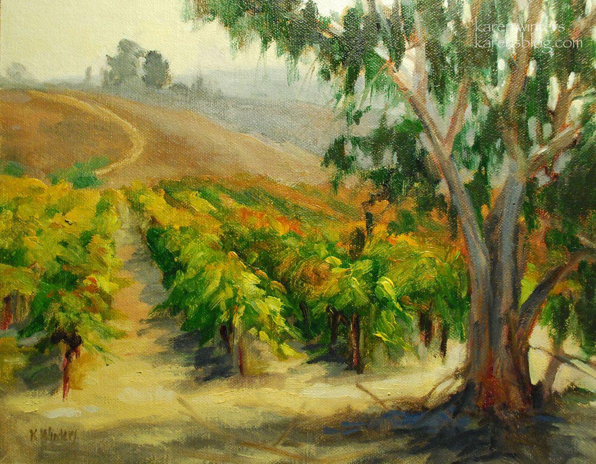 Vineyard Eucalyptus Karen Winters Oil Linen Panel