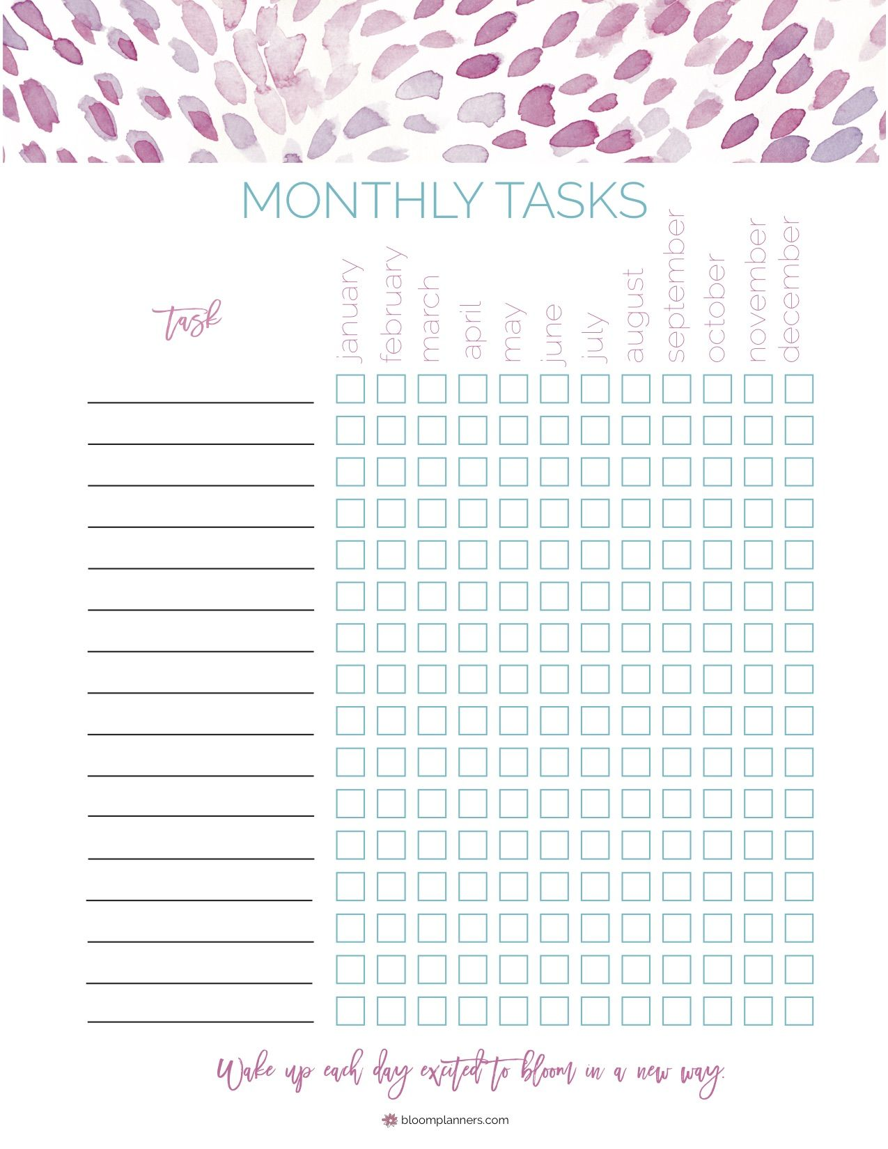 Free Printable Monthly Tasks From Bloom Daily Planners