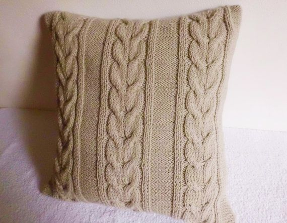 Oat Cable Knit Pillow Case Knit Throw Pillow Beige Hand Knit Pillow Case 16x16 Decorative Couch Pillow Knit Pillow Knitted Throws Decorative Pillows Couch