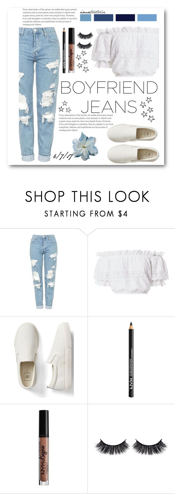 """ripped"" by iamatortoise ❤ liked on Polyvore featuring Topshop, LoveShackFancy, Gap, NYX and Battington"