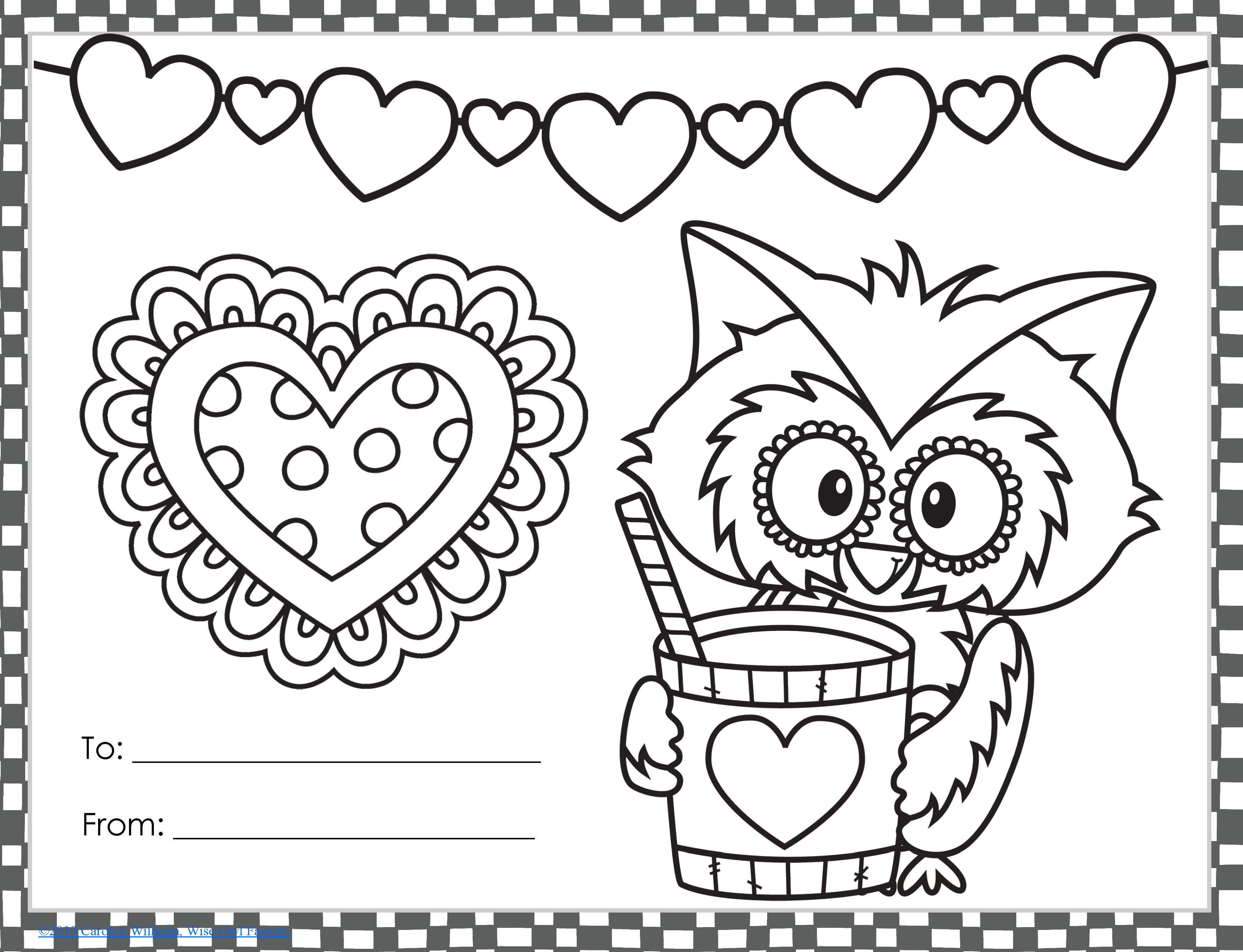 Free Valentine S To Color For K 2 From Wise Owl Factory