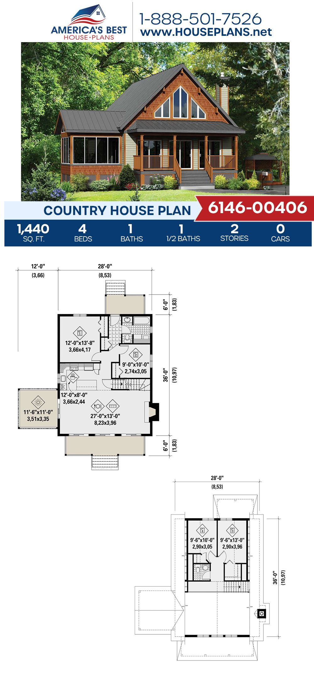 House Plan 6146 00406 Country Plan 1 440 Square Feet 4 Bedrooms 1 5 Bathrooms Country House Plans House Plans Country House Design