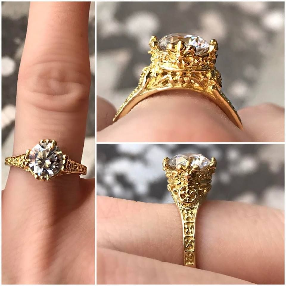 Unique Green Gold Gothic Engagement Ring Shown With A 150ct Center Stone  Check The