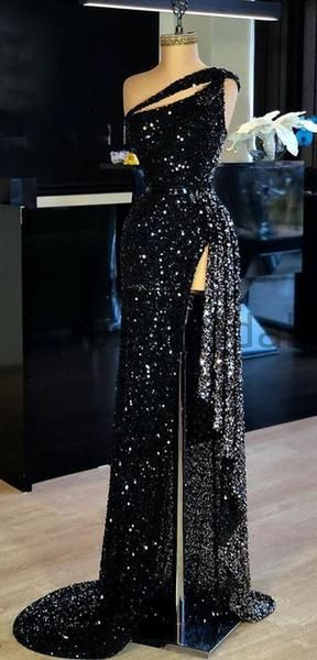 Mermaid Sparkly Sequin Black High Slit Sexy Elegant Modest Long Prom Dresses, evening dresses PD1634 Mermaid Sparkly Sequin Black High Slit Sexy Elegant Modest Long Prom Dresses, evening dresses PD1634 #gorgeousgowns