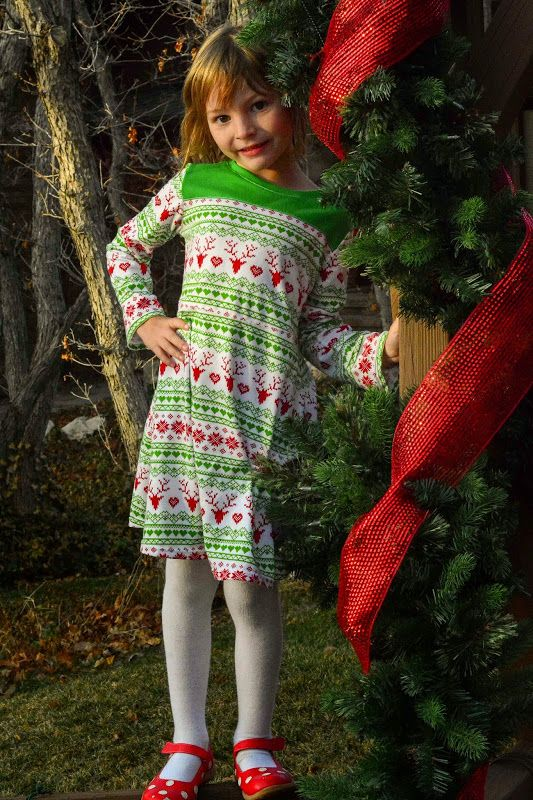 game day jersey dress in fair isle christmas jersey wee muses sewing pattern by