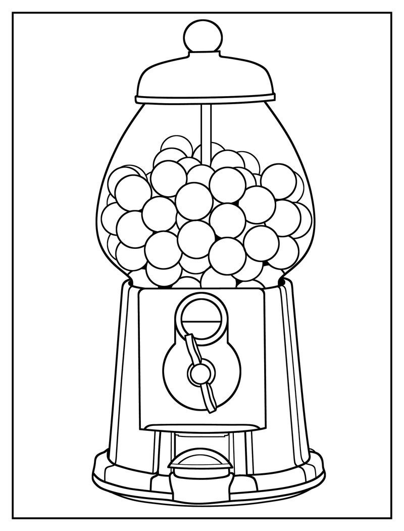 Gumball Machine Coloring Page Easy Easy Coloring Pages Cool Coloring Pages Cute Coloring Pages