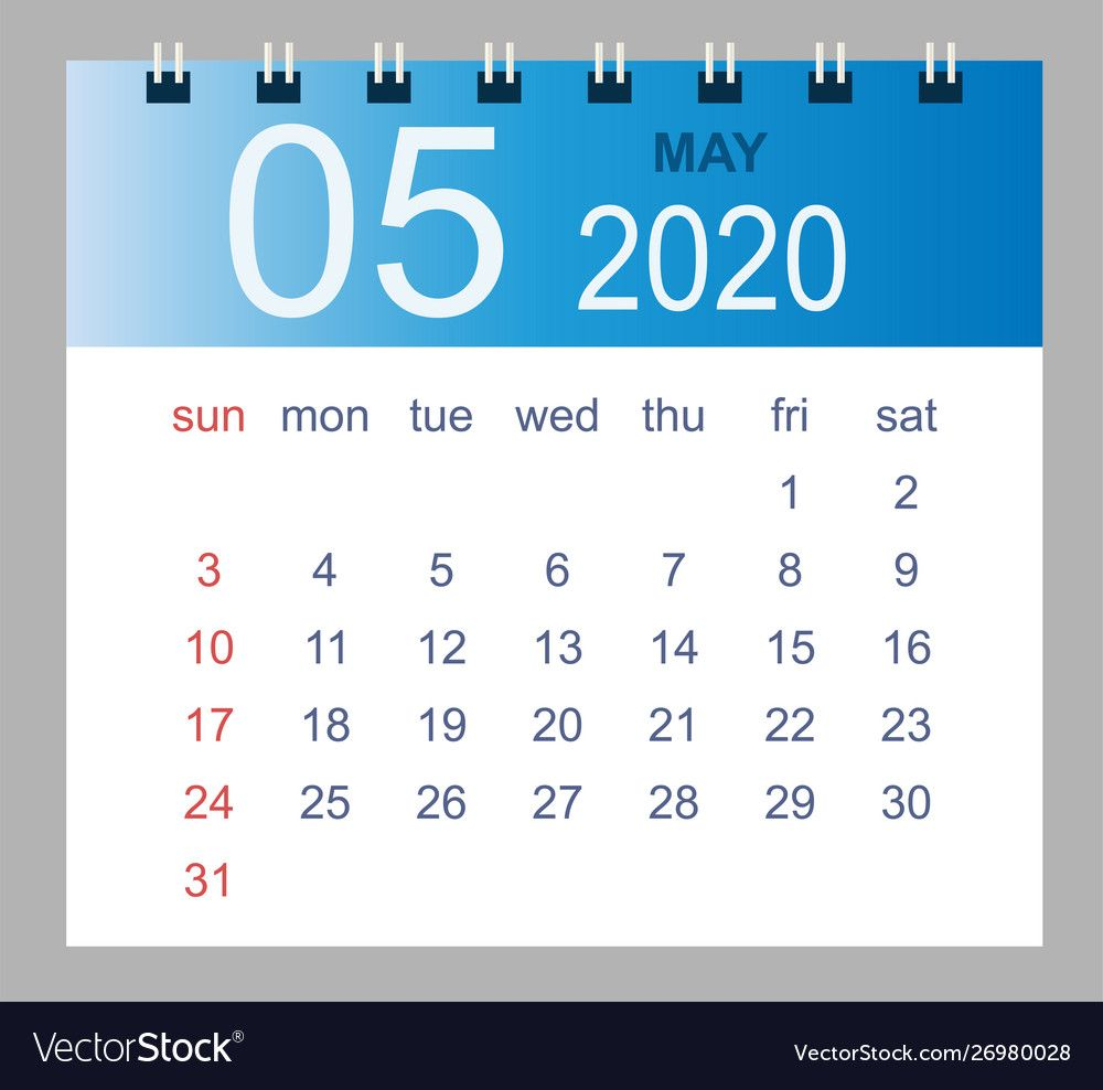May 2020 monthly calendar template 2020 Royalty Free