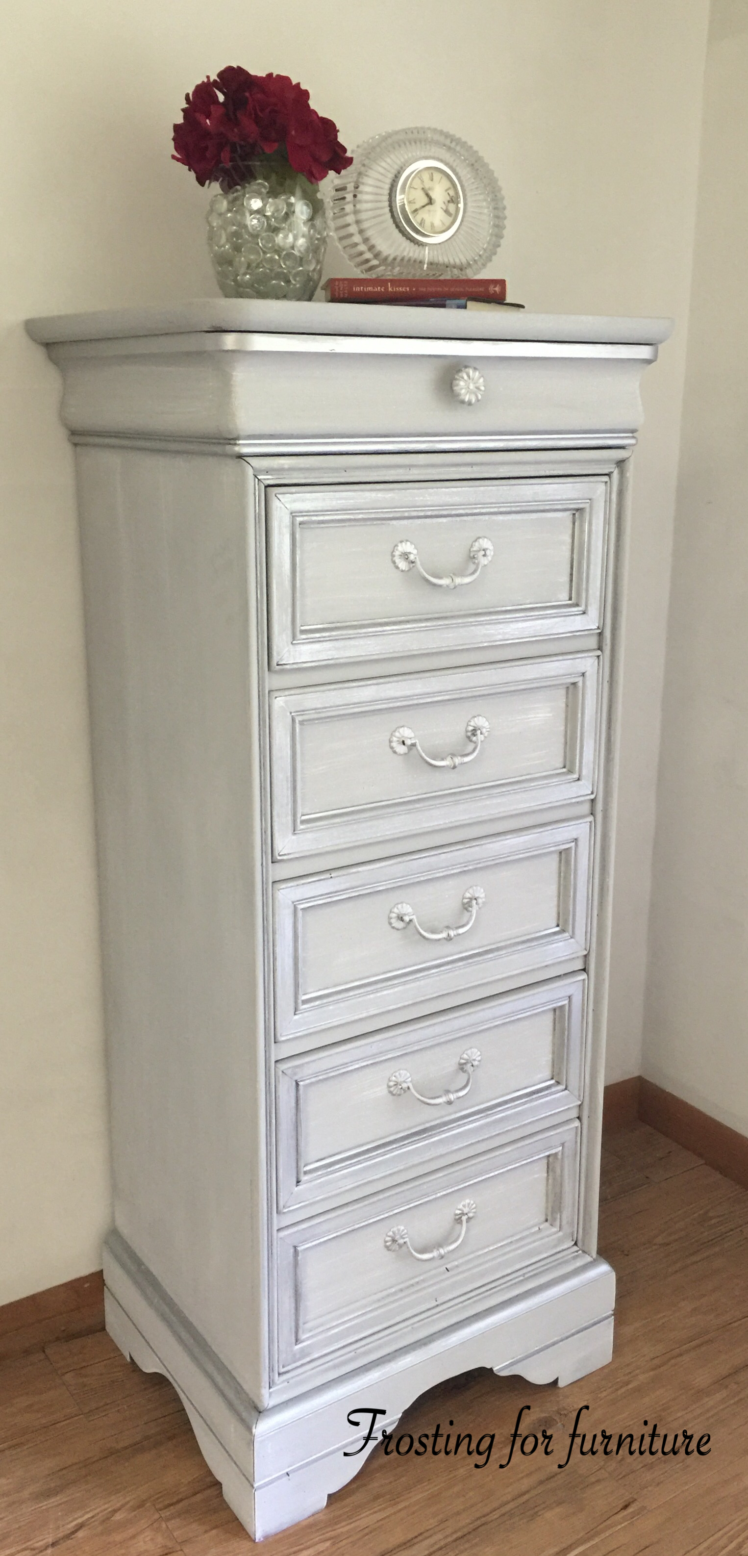 French Provincial lingerie chest painted in Annie Sloan Paris Gray Metallic Masters Silver dry brushed with
