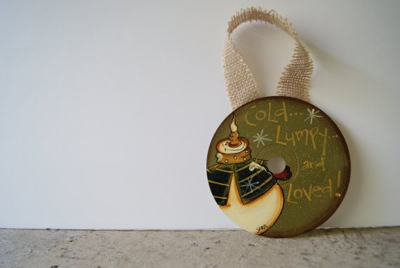 Snowman CD Ornament Hand Painted Rustic Christmas by Ramshackles