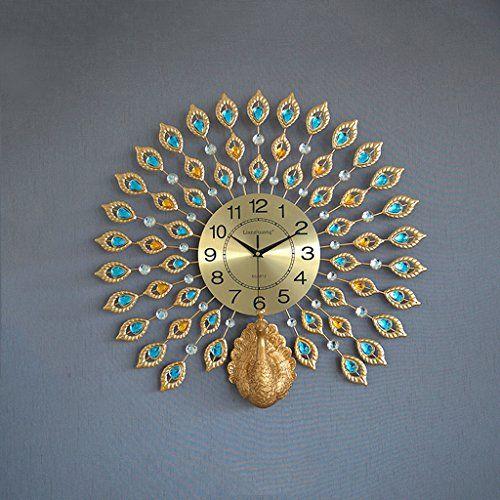 Clocks Creative Peacock Wall Clock Metal Design Wall Art