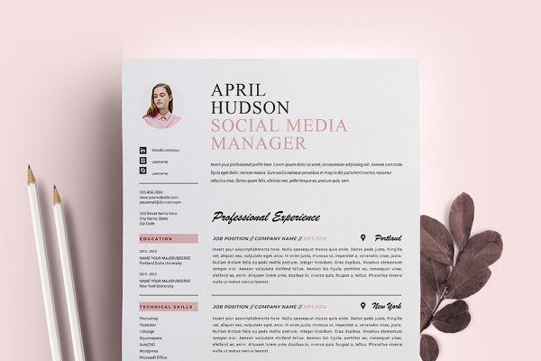 social media resume template    cv by resume21 on  creativemarket
