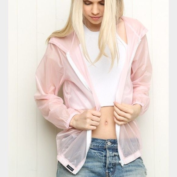 Brandy Melville light pink Scar Windbreaker Jacket | Coats ...