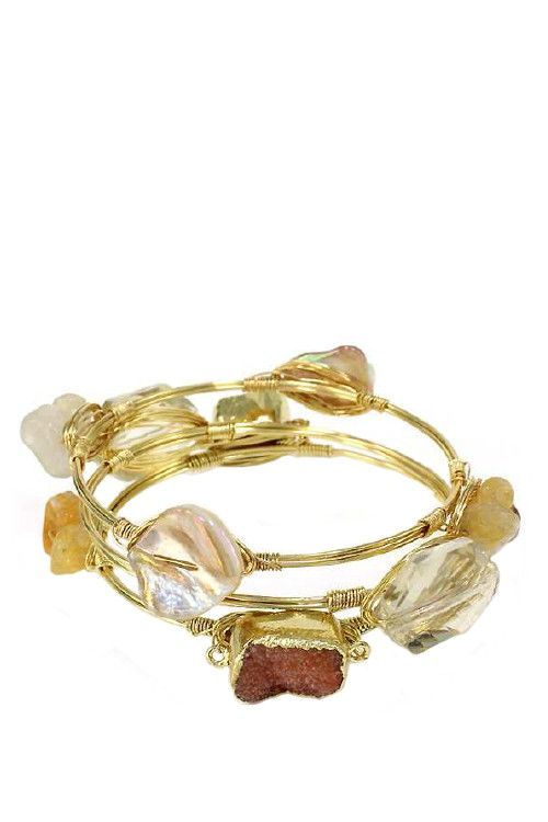 Lucky Duck Wired and Buzzed Bangle Set in Natural