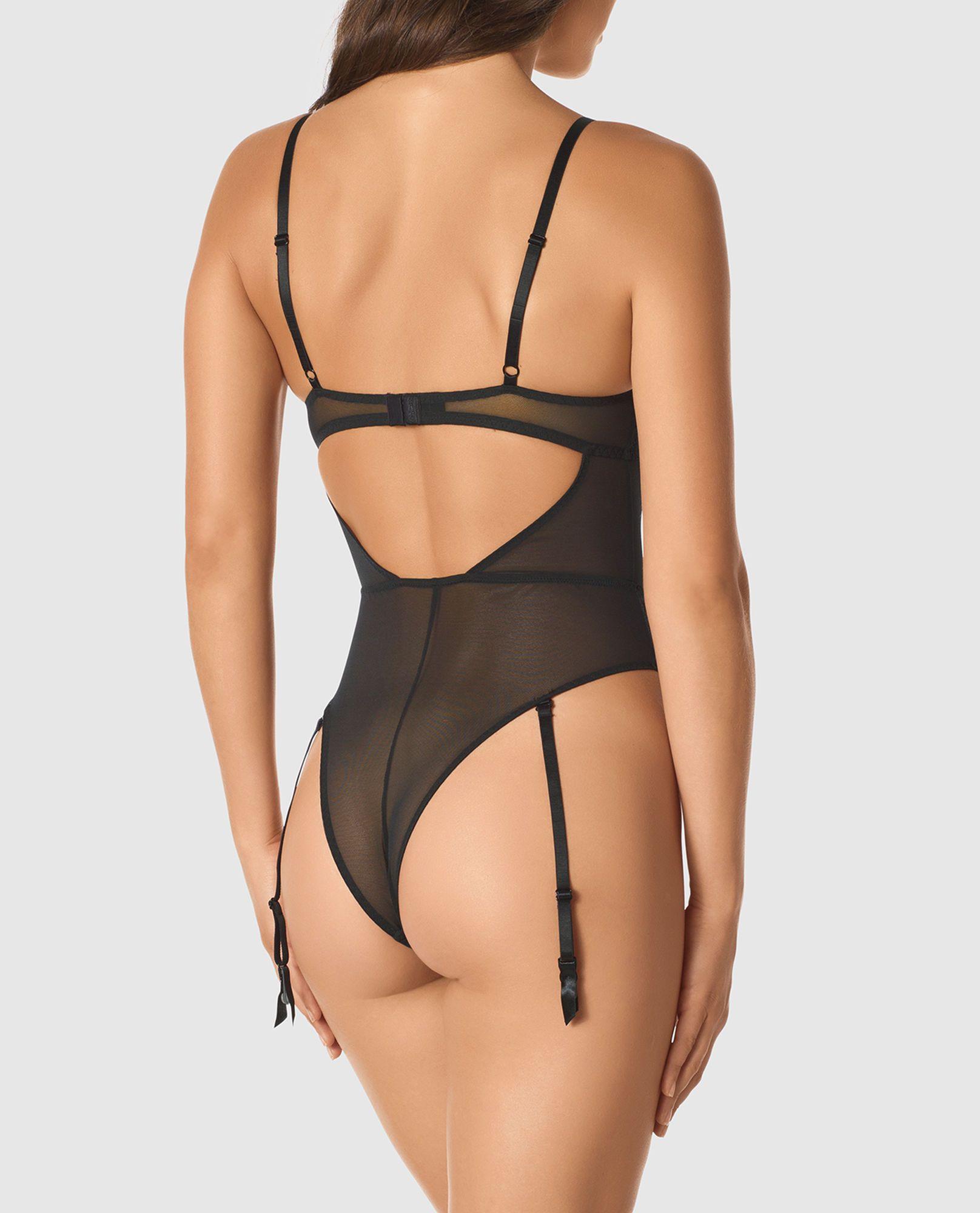 67601352776 Unlined Lace Bodysuit with Garter Straps - New - La Senza Lingerie