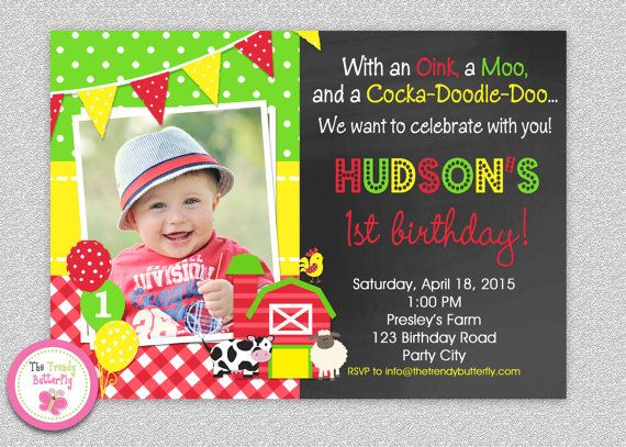Farm Birthday Invitation Party Barnyard