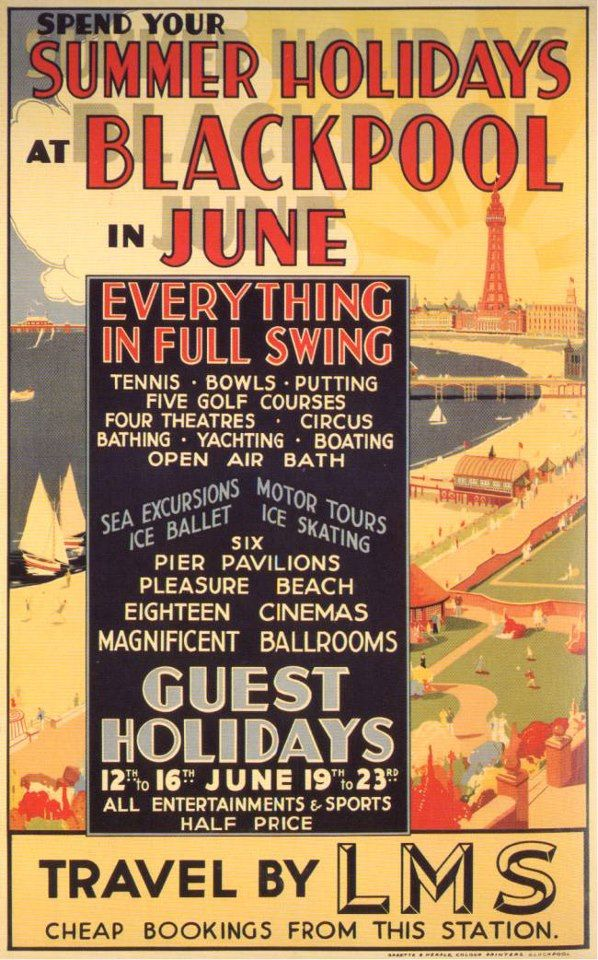 Vintage travel  Poster reproduction. Blackpool