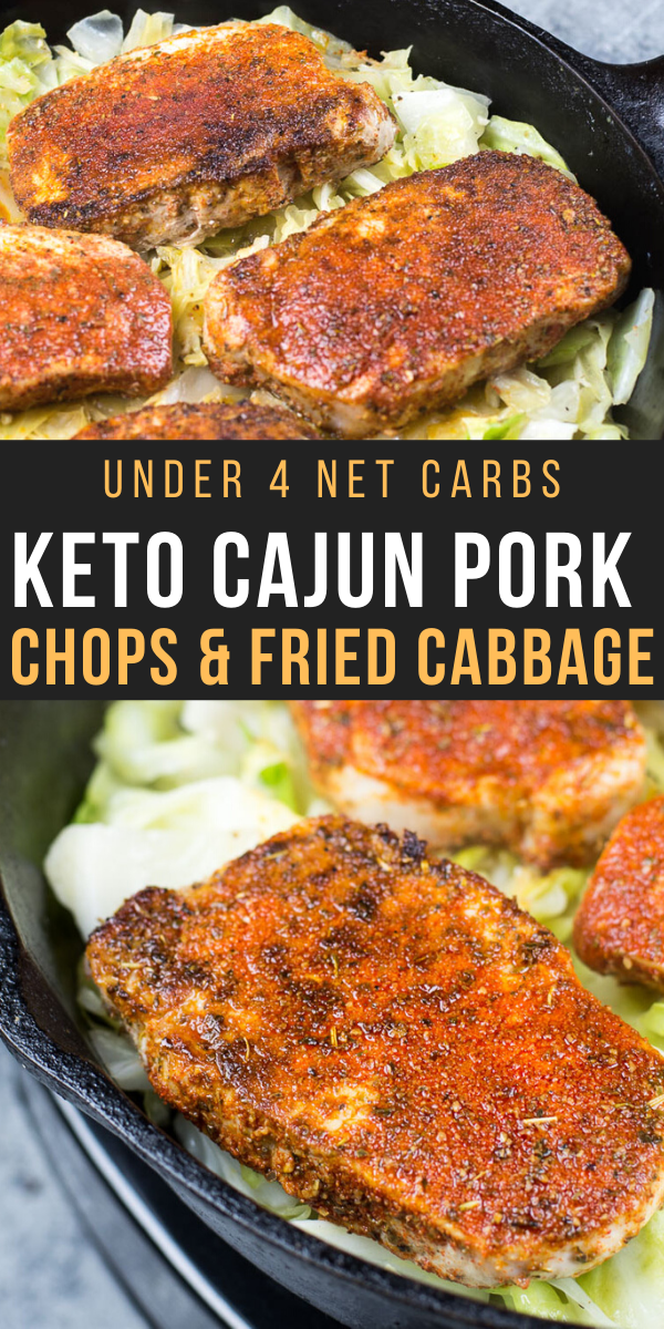 Keto Cajun Pork Chops and Fried Cabbage