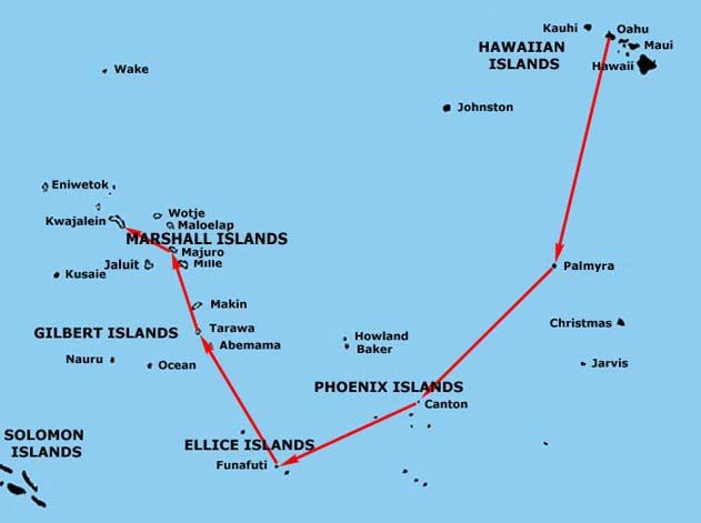 Louis Zamperini route : wake atoll to kwajalein atoll   Kwaj ... on map of singapore, map of majuro atoll, map of mst, map of the aleutian islands, map of marshall islands, map of bahrain, map of diego garcia, map of okinawa, map of mauritius, map of iceland, map of kwaj, map of funafuti, map of new britain island, map of malta, map of mili, map of guatemala, map of tahiti, map of guam, map of colombo, map of peleliu,