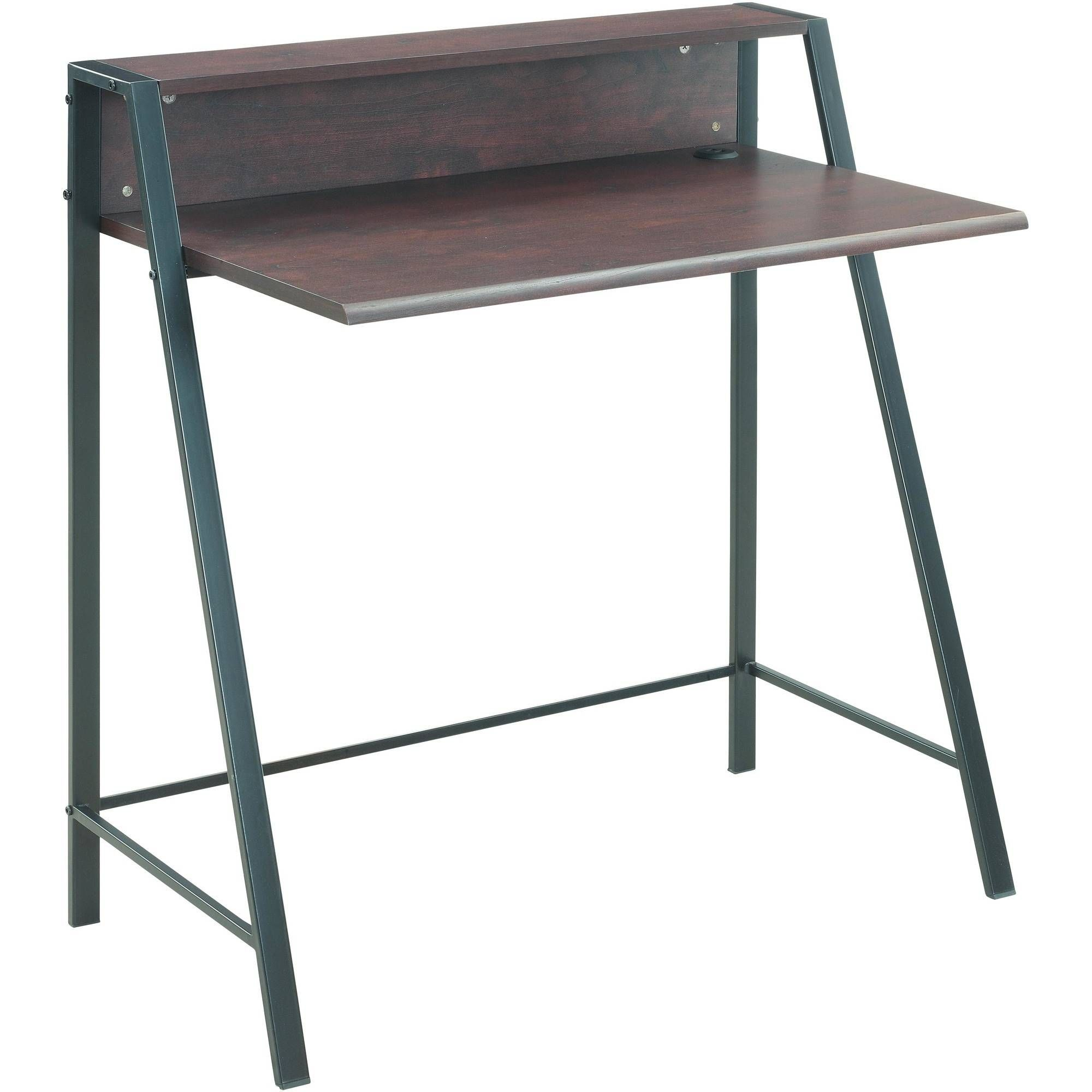 Mainstays Mid Century Writing Desk With Usb Charging Espresso Finish Walmart Com In 2020 Mid Century Writing Desk Writing Desk Corner Writing Desk