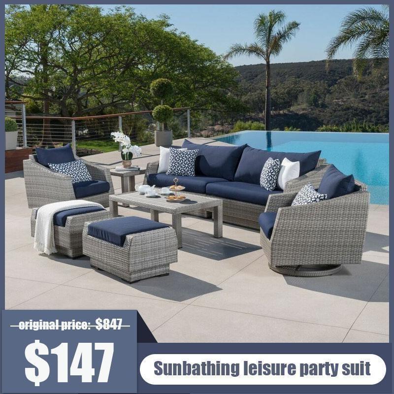 Rattan Sunbrella Sofa Seating Group In