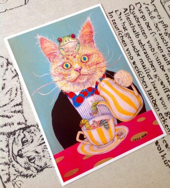 Hello!お茶の時間ですよ ♪手描きの絵を2Lサイズプリントにしました。〈紙〉2Lサイズ EPSON写真用紙〔絹目調〕127×178mm    ...|ハンドメイド、手作り、手仕事品の通販・販売・購入ならCreema。