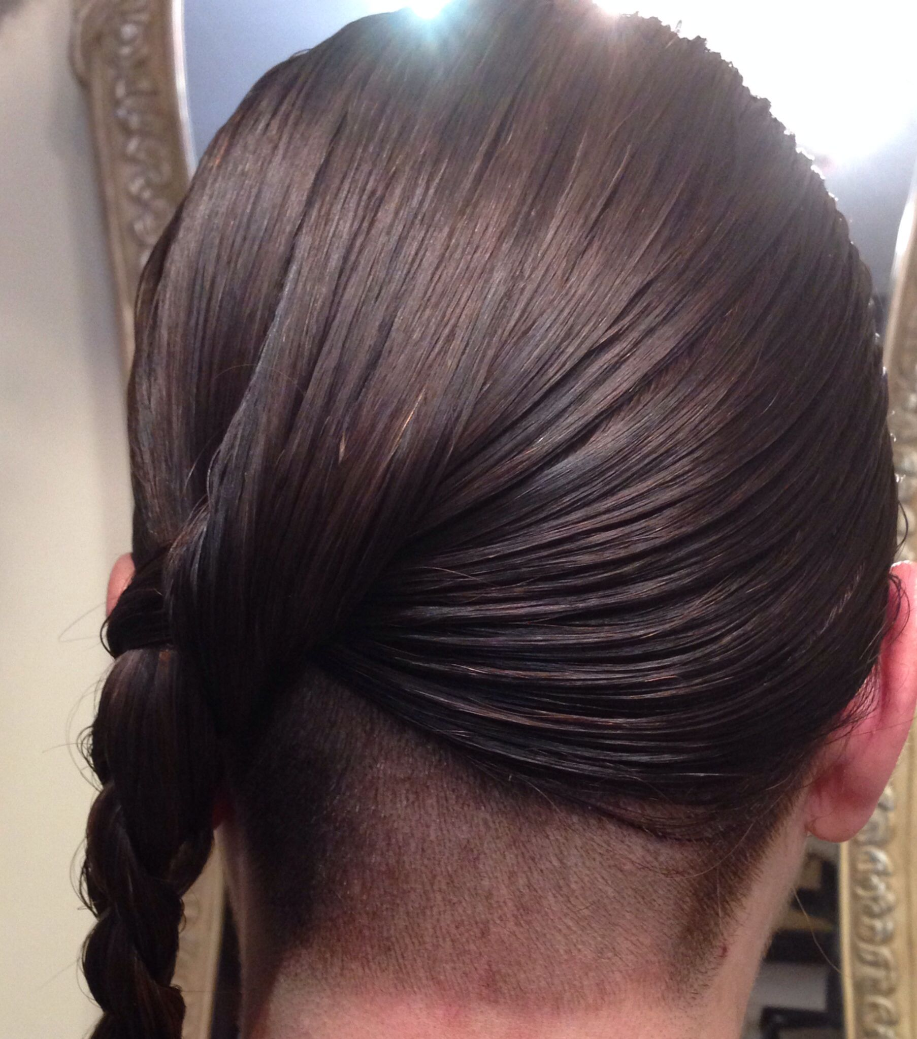 Long hair undercut Shaved underneath Braided to one side to show