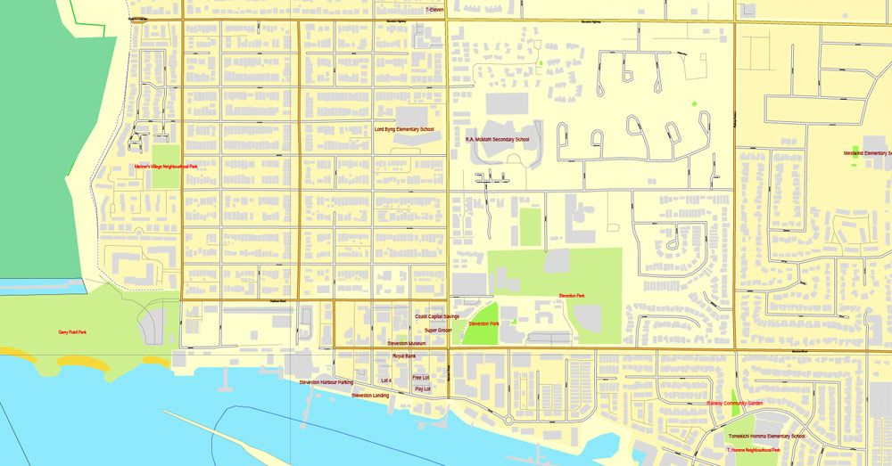 Vancouver exact map V 3 08 Printable City Plan Map in 4 parts of