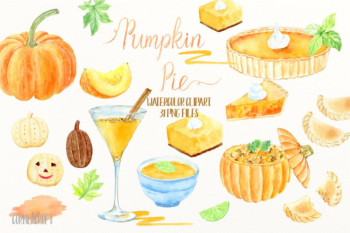 watercolor clipart pumpkin pie pumpkin pie soup cocktail empanadas biscuit pumpkin dish thanksgiving pumpkins instant download by cornercroft on  [ 1160 x 772 Pixel ]