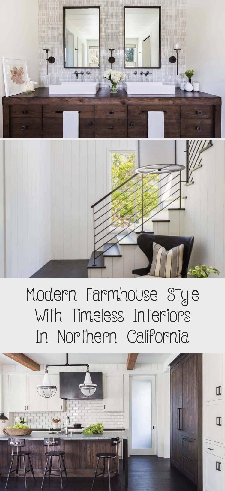 Modern farmhouse style with timeless interiors including white shiplap walls and...  Modern farmhouse style with timeless interiors including white shiplap walls and black metal stair  #Farmhouse #including #Interiors #Modern #shiplap #Style #Timeless #walls #White