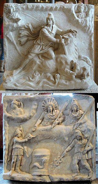 Mithraic relief sculpture.