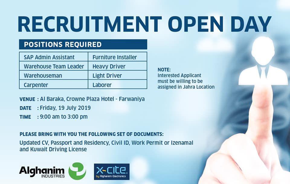 Recruitment Open Day Alghgninim Xcite Iiq8 Jobs Indianinq8