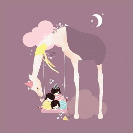 """""""A Long Day At The Park"""" Sweet Artwork for Nursery or Kids Room by Schmooks for Oopsy Daisy, Fine Art for Kids sizes 14x14 and 21x21"""