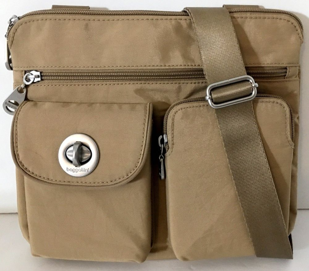 4b8509e0aa NEW BAGGALLINI SYDNEY SILVER Crossbody Shoulder Bag Khaki Tan Nylon Travel  Light  Baggallini  Crossbody