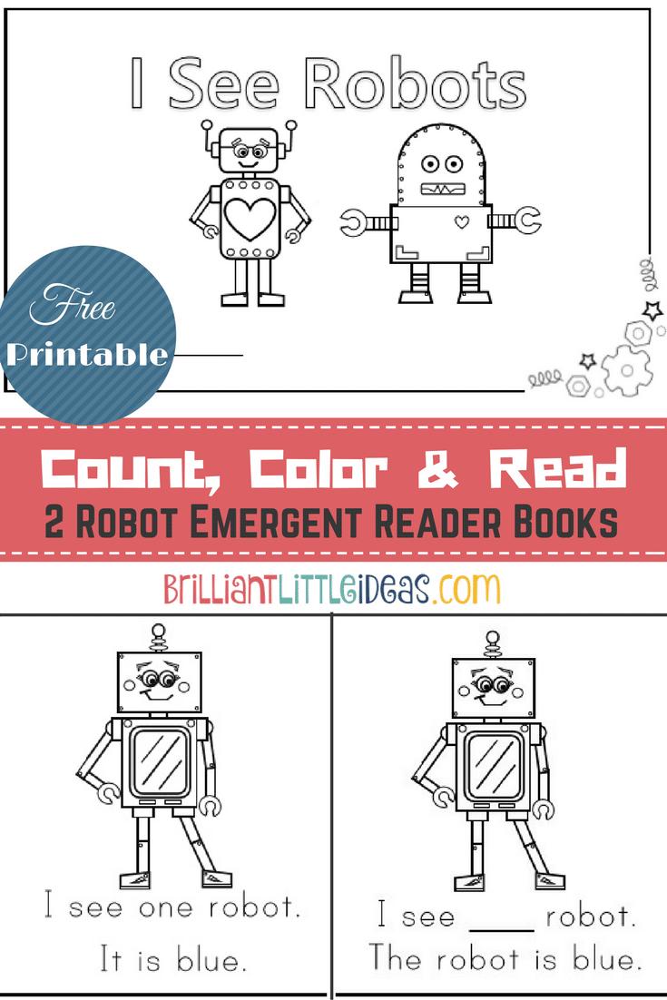 2 Robot Emergent Reader Books Robots Preschool Robots Preschool Theme Emergent Readers [ 1102 x 735 Pixel ]