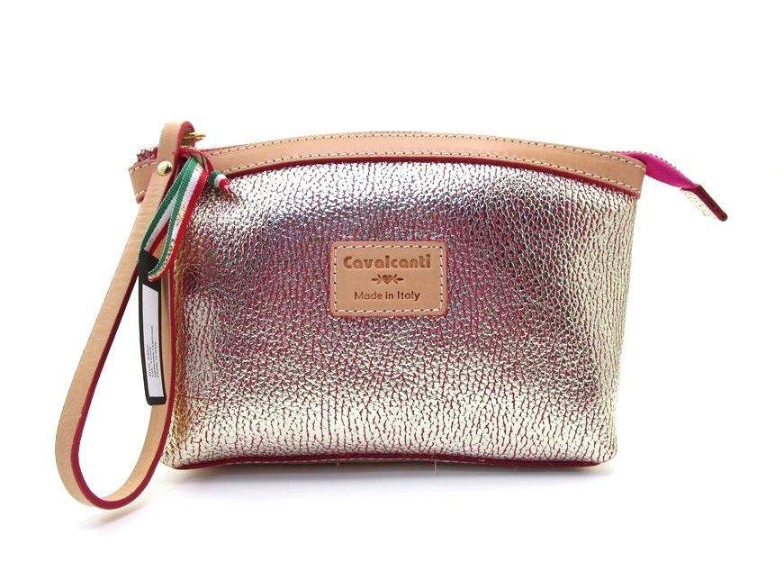 Cavalcanti Leather Clutch Bag Wristlet Strap Metallic Gold Pink New